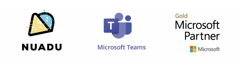 logotypy NUADU Microsoft Teams and Microsoft Partner
